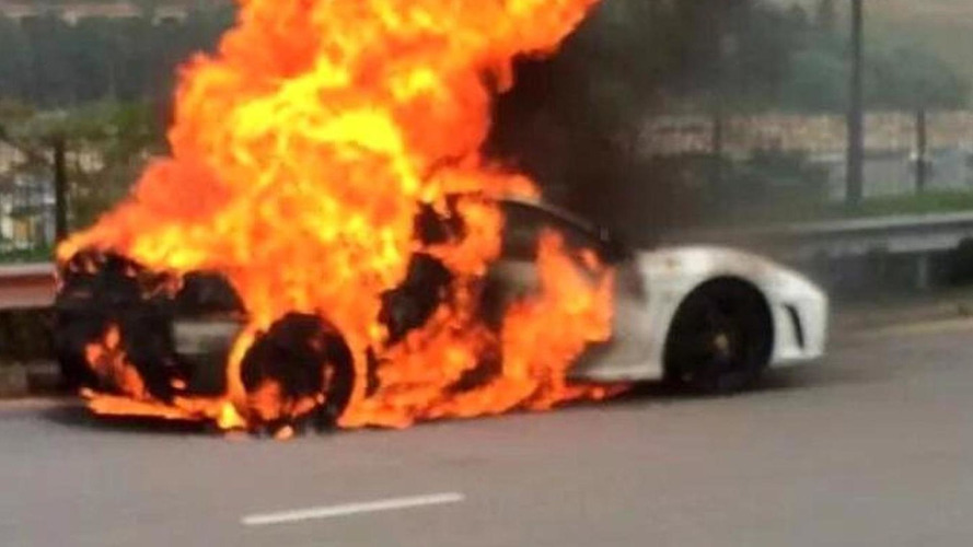 Ferrari F430 devoured by flames in Hong Kong