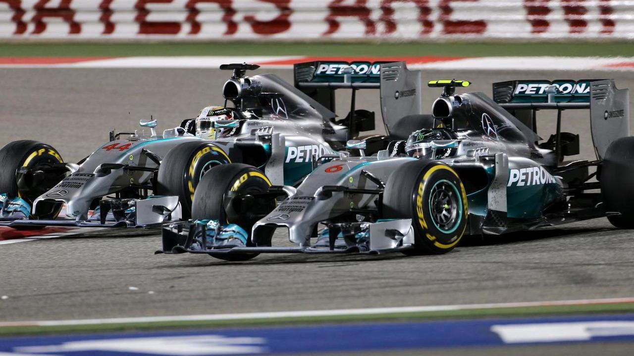 Lewis Hamilton and Nico Rosberg 06.04.2014 Bahrain Grand Prix