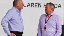 Ron Dennis, McLaren Executive Chairman with Martin Brundle, Sky Sports Commentator