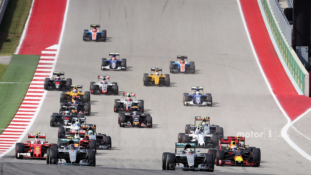 Lewis Hamilton, Mercedes AMG F1 W07 Hybrid (Right) leads team mate Nico Rosberg, Mercedes AMG F1 W07 Hybrid at the start of the race