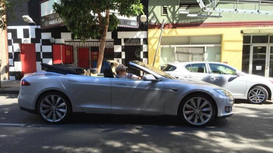 Tesla Model S four-door convertible spotted on the road