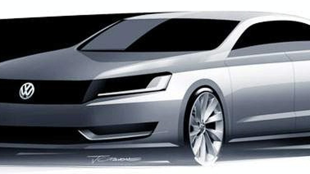 VW new 2010 mid-size sedan design sketch