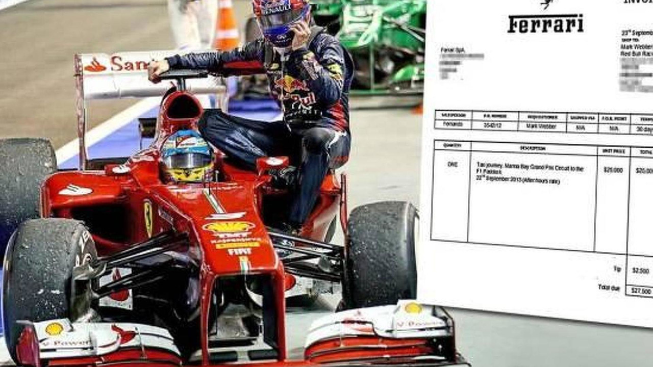 Webbers taxi bill for Ferrari