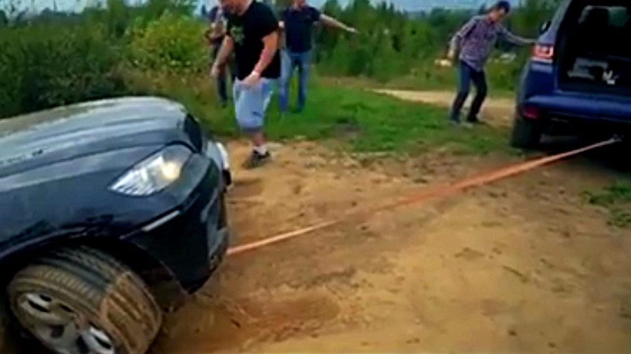 Watch A BMW X5's Tow Strap Snap At Top Of Steep Hill