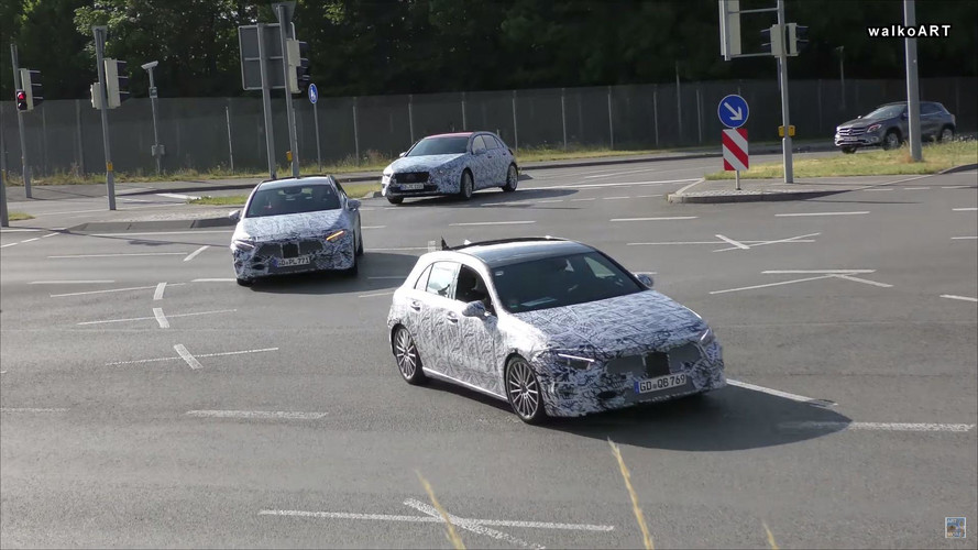 2018 Mercedes A-Class Convoy Spied Waiting At Red Light