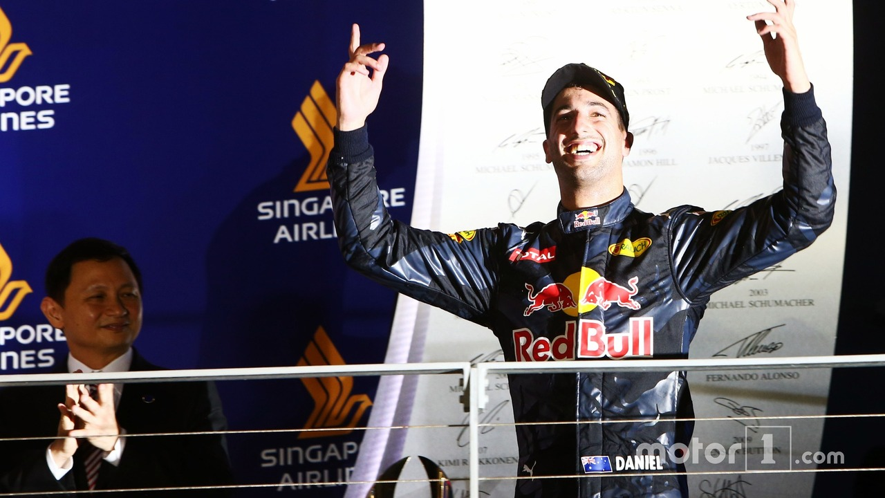 Daniel Ricciardo, Red Bull Racing celebrates his second position on the podium