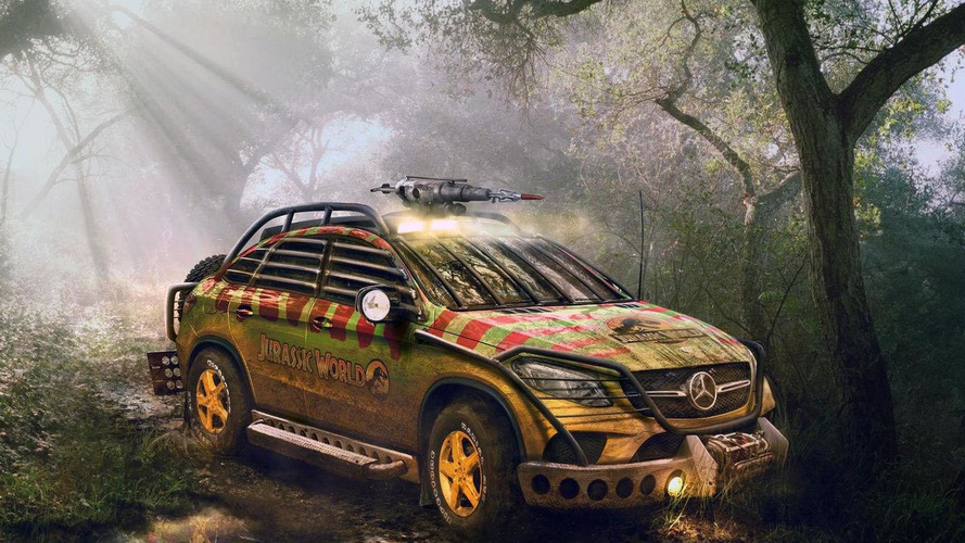 Mercedes-Benz GLE 450 AMG Sport Coupe rendered with Jurassic World theme