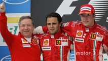 Podium: race winner and 2007 World Champion Kimi Raikkonen, second place Felipe Massa, and Jean Todt