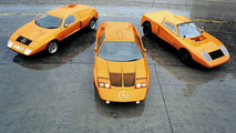 Mercedes-Benz C111 mid, C111/II left, C111/I right 1970
