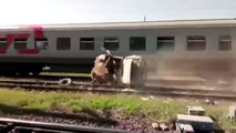 Russian UAZ Gets Hit By Train