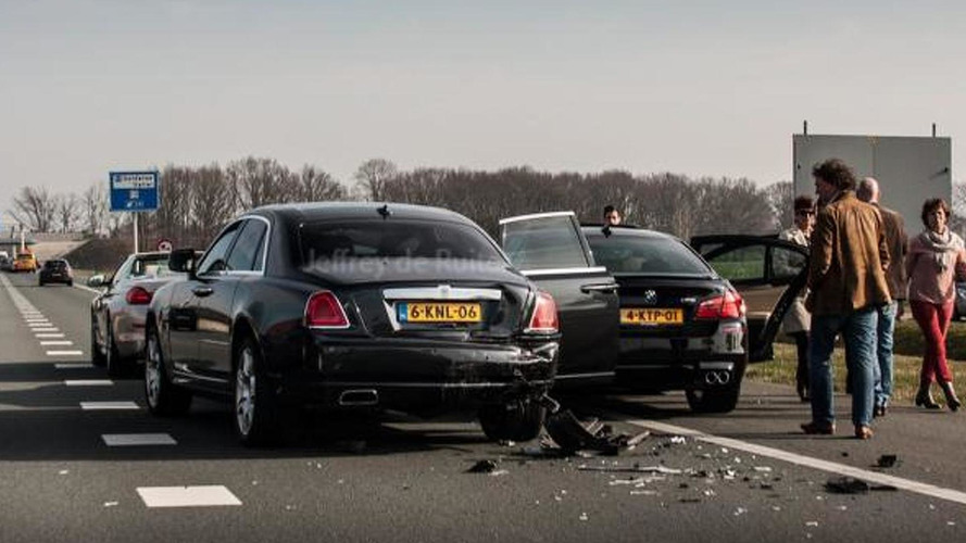BMW M5 rear-ends Rolls-Royce Ghost while heading to Need for Speed movie premiere