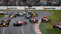 Race Start, Fernando Alonso (ESP), Jenson Button (GBR), Lewis Hamilton (GBR), Michael Schumacher (GER), Australian Grand Prix, Sunday Race, 28.03.2010 Melbourne, Australia