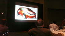 Dodge compact car design sketch during Chicago Auto Show presentation