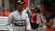 Second placed Lewis Hamilton (GBR) celebrates at the podium, 25.05.2014, Monaco Grand Prix, Monte Carlo / XPB