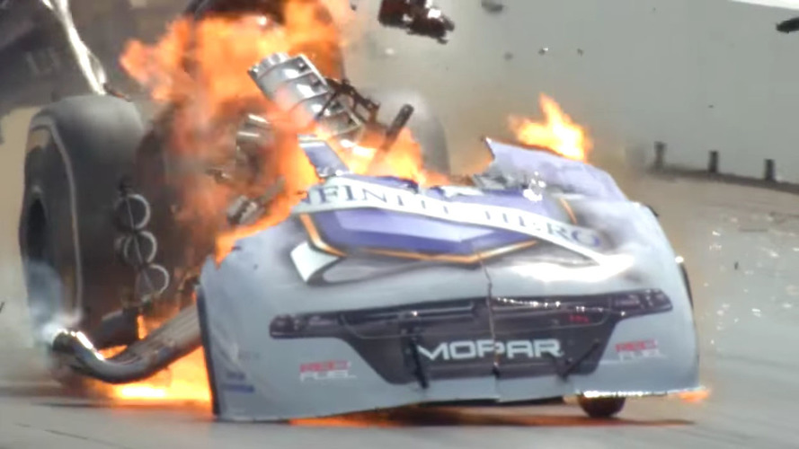 Funny car driver keeps calm after fiery explosion