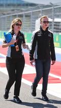 Nikita Mazepin, Sahara Force India F1 Team Development Driver walks the circuit with Bernadette Collins, Sahara Force India F1 Team Performance and Strategy Engineer