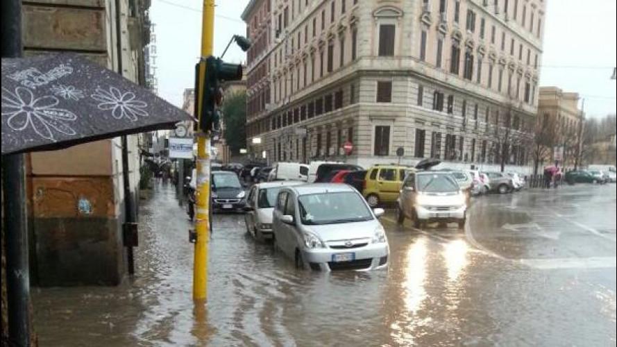 La pioggia manda in tilt Roma e nel week-end non ci sarà tregua
