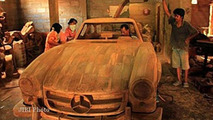 Full-size wood Mercedes-Benz 300SL replica