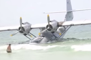 See a Flying Boat From Nic Cage Film Stuck on a Beach
