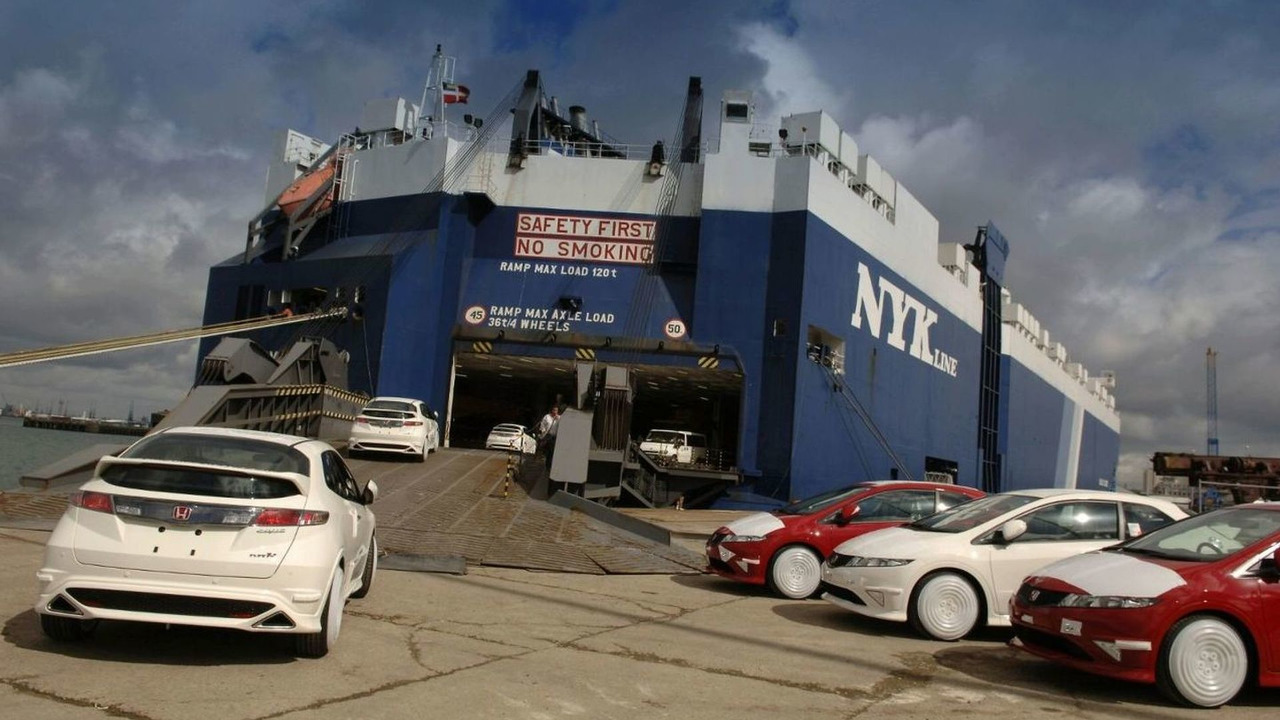 British-built Civic Type R models are loaded onto a ship at Southampton docks, ready for export to Japan