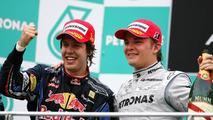 Sebastian Vettel (GER), Red Bull Racing and Nico Rosberg (GER), Mercedes GP - Formula 1 World Championship, Rd 3, Malaysian Grand Prix, Sunday Podium, 04.04.2010 Kuala Lumpur, Malaysia