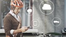 Volvo cyclist anti-collision warning system