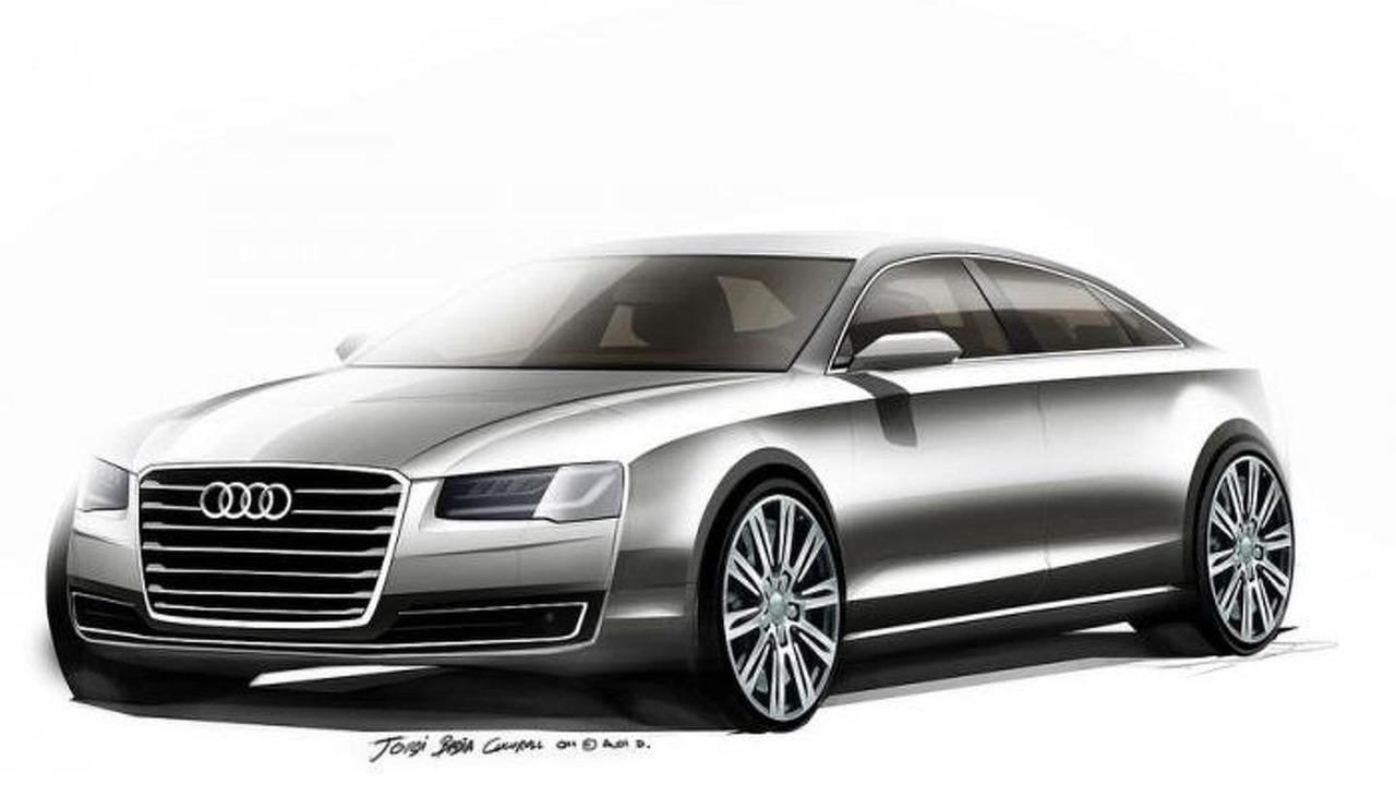 2014 Audi A8 facelift official design sketch 16.08.2013