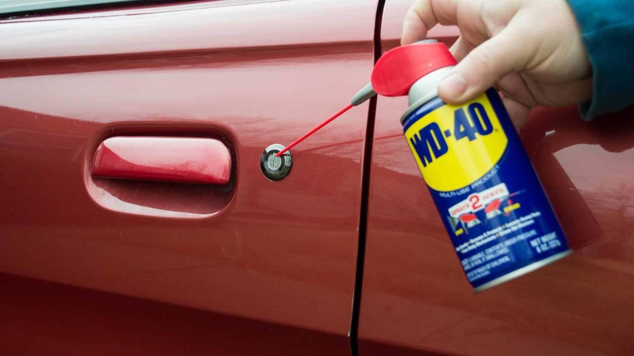 Spray lubricant on door seals and locks