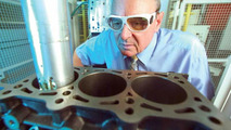 Horst Lindner checks laser exposure of an engine
