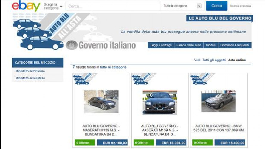 Auto blu all'asta su eBay: nessuna offerta per le Maserati di La Russa