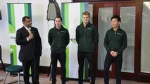 Tony Fernandes, Robin Frijns Marcus Ericsson, Kamui Kobayashi Caterham F1 Team Leafield UK