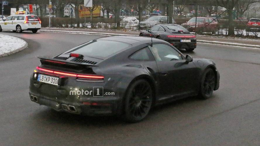 Next-generation Porsche 911 Turbo spotted with fixed rear wing
