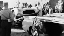 "Grand Prix of Sweden, Kristianstad, 7 August 1955. ""The Blue Wonder"" carrier from Mercedes-Benz with a 300 SLR (W 196 S)"