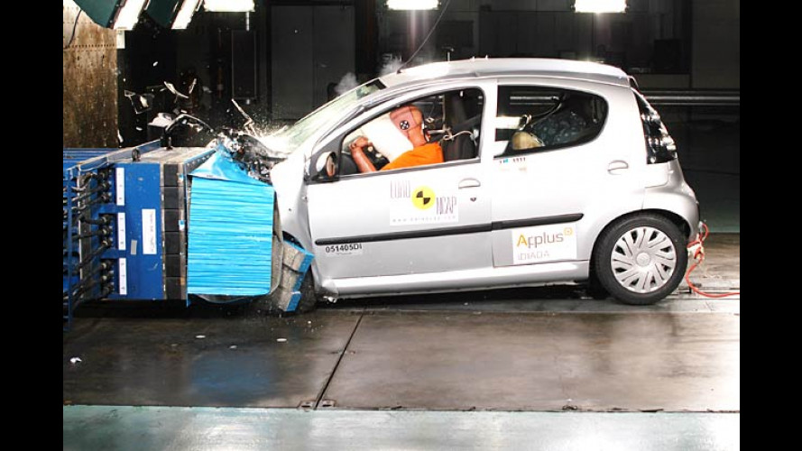 Aktueller Crashtest: Citroën C1, Opel Zafira und VW Passat