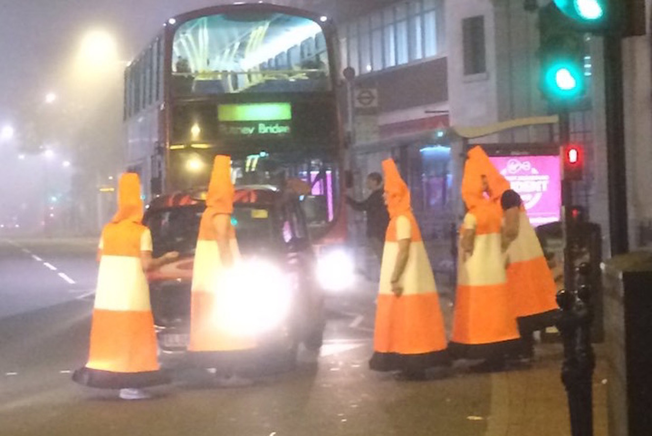 Men Dressed as Cones Get Police Called on Them For Blocking Traffic