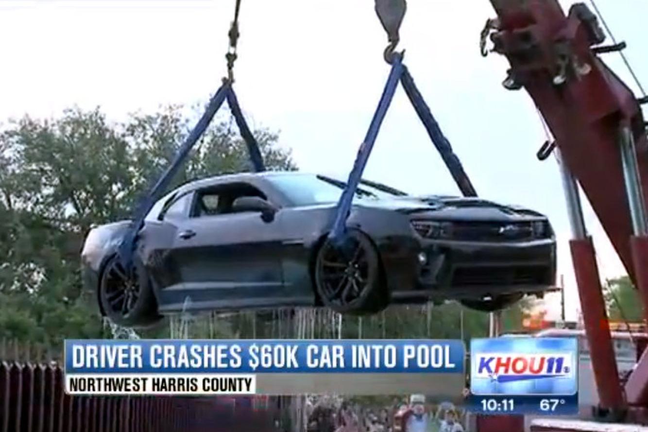 Texas Driver Crashes $60K Camaro ZL1 Into Pool [w/video]