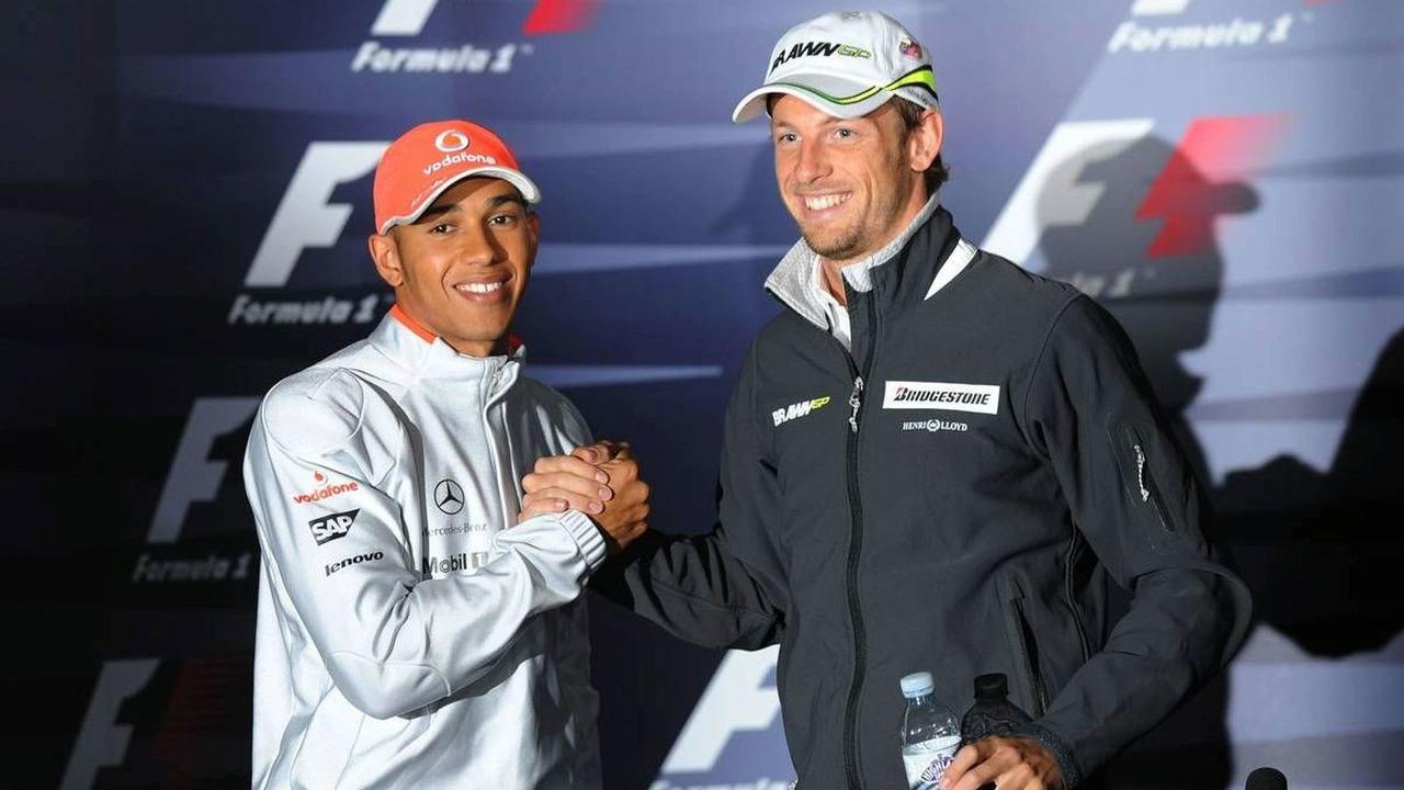 Lewis Hamilton (GBR), McLaren Mercedes with Jenson Button (GBR), Brawn GP, British Grand Prix, Thursday Press Conference, Silverstone, England, 18.06.2009