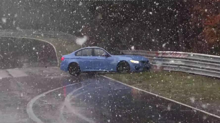 Intő példa hóesésben: odacsapta a BMW M3-at a Nordschleifén