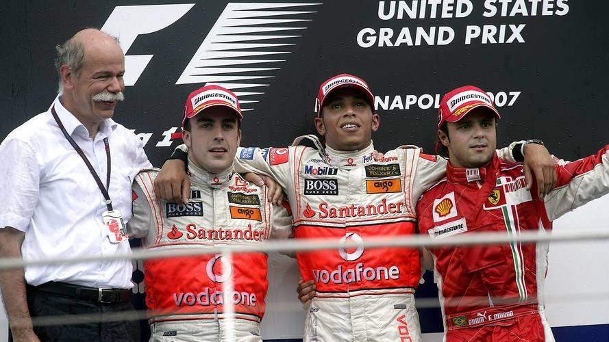 Podio: Ganador de la carrera Lewis Hamilton, McLaren, segundo lugar Fernando Alonso, McLaren y tercero Felipe Massa, Ferrari