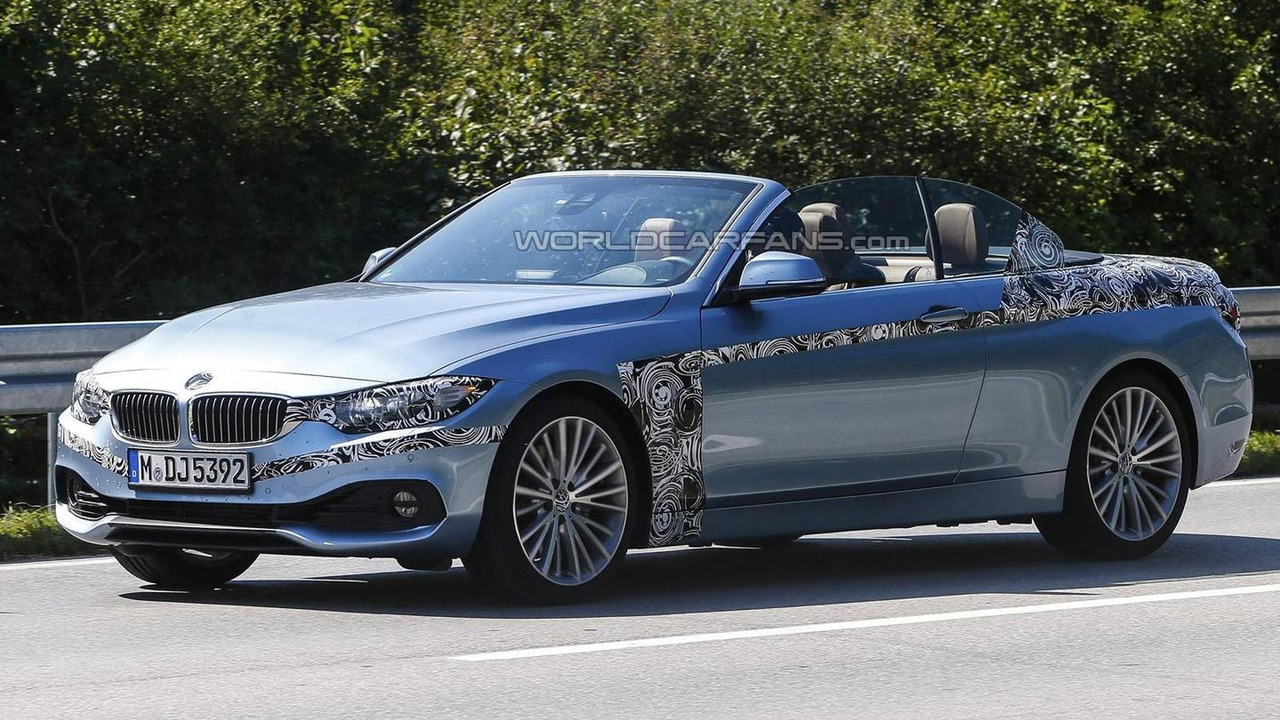 BMW Series Convertible Spied With The Top Down Wearing - 2013 bmw 4 series convertible