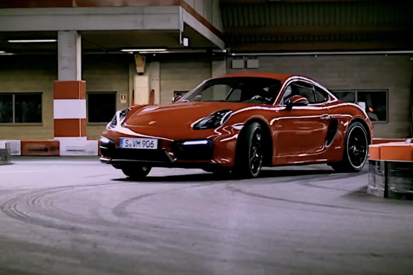 Porsche Cayman GTS Drifts Around a Go-Kart Track Like a Boss [Video]