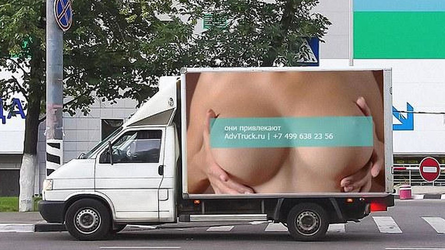 Trucks in Russia featuring ads with breasts cause 517 accidents in one day