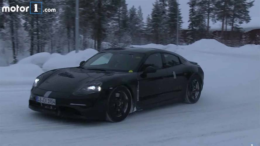 Porsche Mission E Spied Gliding Silently Through The Snow On Video