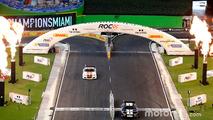 David Coulthard and Kurt Busch in the Whelen NASCAR car