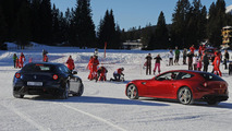 Ferrari FFs go slalom skiing with Fernando and Felipe [video]