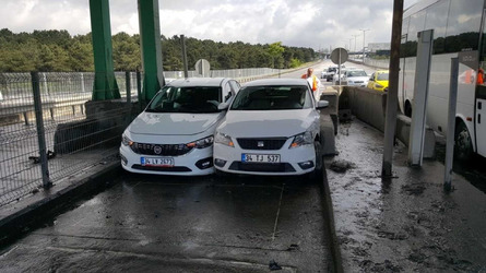 Two Cars Refuse To Yield At Tollbooth With Hilarious Result