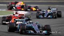 Valtteri Bottas, Mercedes AMG F1 W08, leads Sebastian Vettel, Ferrari SF70H,Lewis Hamilton, Mercedes AMG F1 W08, Max Verstappen, Red Bull Racing RB13