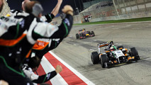 Third placed Sergio Perez (MEX) Sahara Force India F1 VJM07 celebrates as he passes his team
