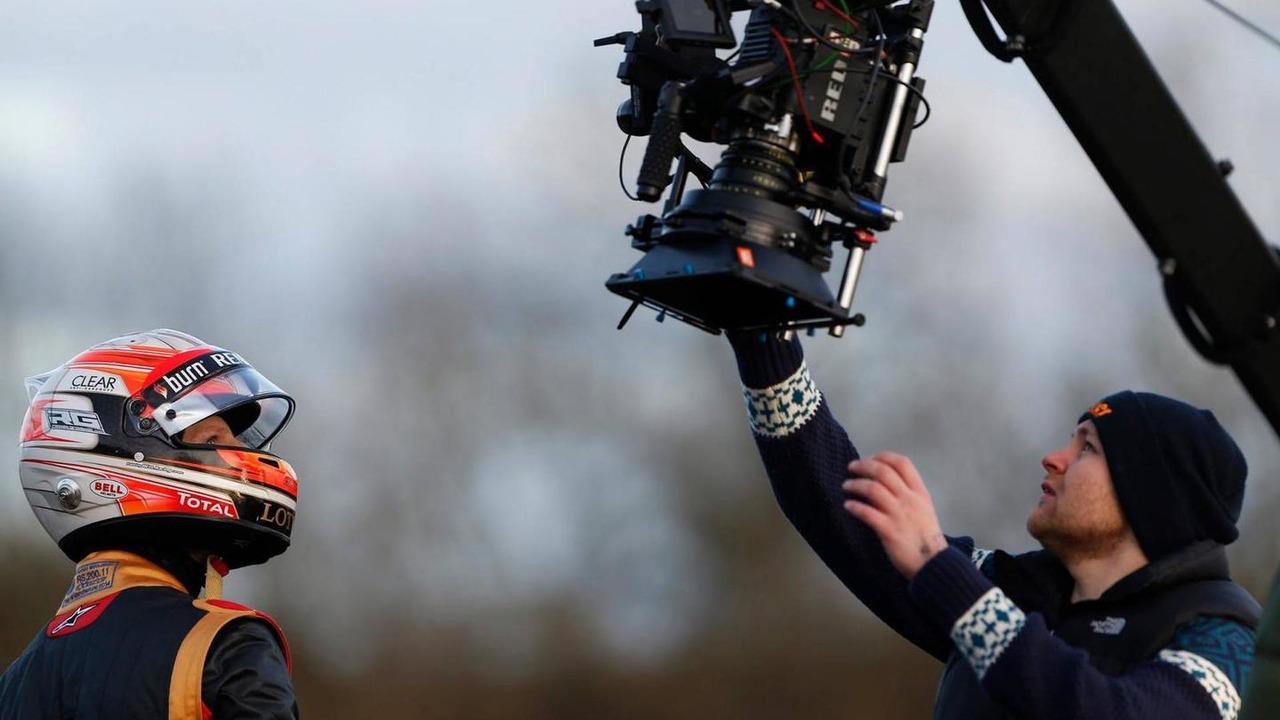 Romain Grosjean filming at Jerez Spain on 08.02.2014