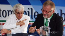 (L to R): Bernie Ecclestone with Roberto Maroni, Lombardia Region President at a Monza circuit announcement